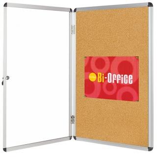 Gablota korkowa BI-OFFICE, 15xA4, 90x120cm, brązowa, Gablotki, Prezentacja