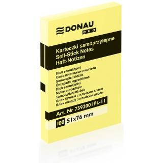 Bloczek samoprzylepny DONAU Eco, 51x76mm, 1x100 kart., jasnożółty