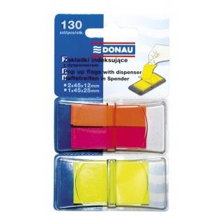 Zakładki indeksujące DONAU, PP, 12x40mm/25x45mm, 2x40/1x50 kart., mix kolorów, Bloczki samoprzylepne, Papier i etykiety