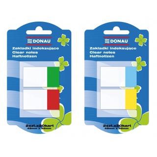 Zakładki indeksujące DONAU, PP, 25x45mm, 2x20 kart., mix kolorów, Bloczki samoprzylepne, Papier i etykiety