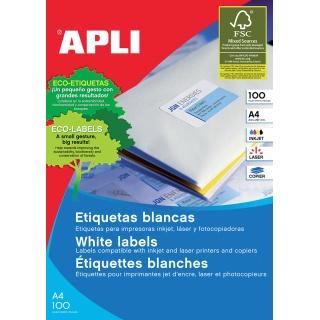 Etykiety uniwersalne APLI, 97x42,4mm, prostokątne, białe 100 ark.