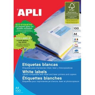 Etykiety uniwersalne APLI, 99,1x93,1mm, zaokrąglone, białe 100 ark.