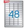 Etykiety poliestrowe APLI, 45,7x21,2mm, zaokrąglone, srebrne, 20 ark.