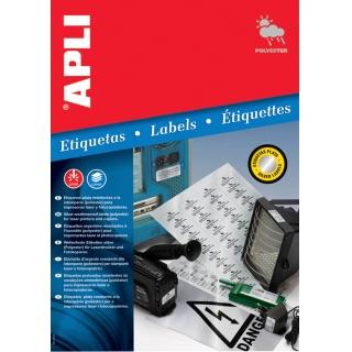 Etykiety poliestrowe APLI, 63,5x29,6mm, zaokrąglone, srebrne, 20 ark.