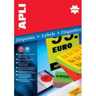Etykiety fluorescencyjne APLI, 210x297mm, prostokątne, pomarańczowe, Etykiety samoprzylepne, Papier i etykiety