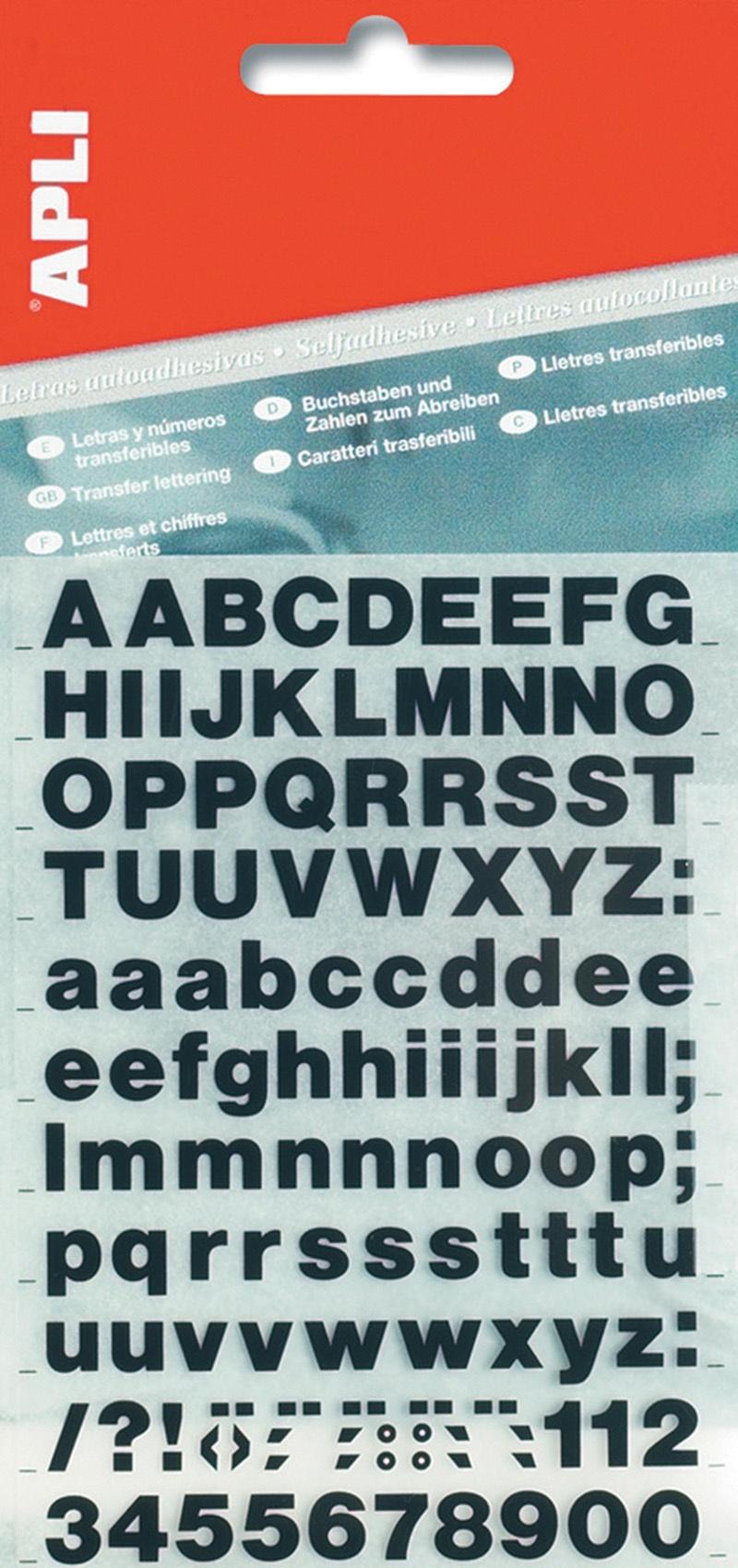 Litery samoprzylepne APLI, 25mm, czarne, Etykiety samoprzylepne, Papier i etykiety