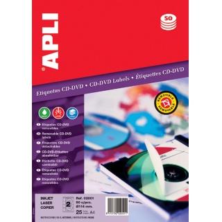 Etykiety na płyty CD/DVD APLI, średnica 114/18mm, okrągłe, białe, Etykiety samoprzylepne, Papier i etykiety