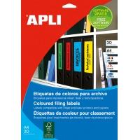 Etykiety samoprzylepne do segregatora APLI, 61x190mm, 100szt., żółte, Etykiety opisowe, Papier i etykiety