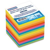 Kostka DONAU nieklejona, 90x90x90mm, ok. 800 kart., neon, mix kolorów, Kostki, Papier i etykiety
