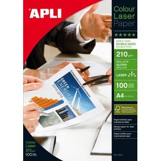 Papier fotograficzny APLI Glossy Laser Paper, A4, 210gsm, błyszczący, 100ark., Papiery specjalne, Papier i etykiety