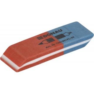 Gumka wielofunkcyjna DONAU, 57x19x8mm, niebiesko-czerwona, Gumki, Artykuły do pisania i korygowania