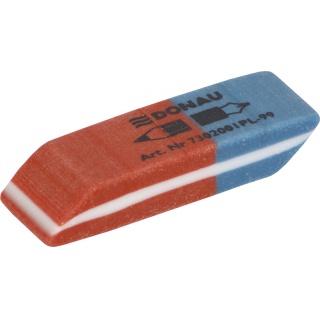 Gumka wielofunkcyjna DONAU, 40x14x8mm, niebiesko-czerwona, Gumki, Artykuły do pisania i korygowania