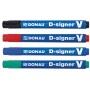 Marker permanentny DONAU D-Signer V, ścięty, 1-4mm (linia), niebieski, Markery, Artykuły do pisania i korygowania