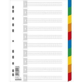 Przekładki DONAU, PP, A4, 225x297mm, 10+1 kart, mix kolorów, Przekładki polipropylenowe, Archiwizacja dokumentów