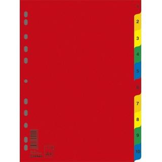Przekładki DONAU, PP, A4, 230x297mm, 1-10, 10 kart, mix kolorów, Przekładki polipropylenowe, Archiwizacja dokumentów