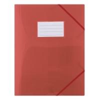 Teczka z gumką DONAU, PP, A4, 480mikr., 3-skrz., półtransparentna czerwona, Teczki płaskie, Archiwizacja dokumentów