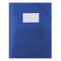 Teczka z gumką DONAU, PP, A4, 480mikr., 3-skrz., półtransparentna niebieska, Teczki płaskie, Archiwizacja dokumentów