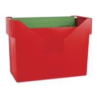 Mini archiwum DONAU, plastikowe, czerwone, 5 teczek