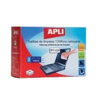 Chusteczki do czyszczenia ekranów TFT/LCD APLI, 2x20szt., Środki czyszczące, Akcesoria komputerowe