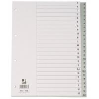 Przekładki Q-CONNECT, PP, A4, 230x297mm, A-Z, 20 kart, szare, Przekładki polipropylenowe, Archiwizacja dokumentów