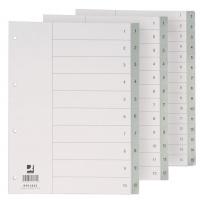 Przekładki Q-CONNECT, PP, A4, 230x297mm, 1-10, 10 kart, szare, Przekładki polipropylenowe, Archiwizacja dokumentów