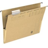 Teczka zawieszkowa Q-CONNECT z boczkami, karton, A4, 250gsm, jasnobrązowa, Teczki zawieszkowe, Archiwizacja dokumentów