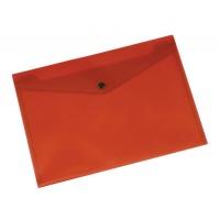 Teczka kopertowa Q-CONNECT zatrzask, PP, A4, 172mikr., transparentna czerwona, Teczki płaskie, Archiwizacja dokumentów