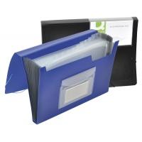Teczka harm. z gumką Q-CONNECT, PP, A4, 12-przegr., niebieska, Teczki przestrzenne, Archiwizacja dokumentów