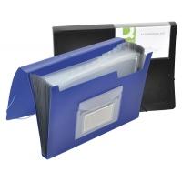 Teczka harm. z gumką Q-CONNECT, PP, A4, 12-przegr., czarna, Teczki przestrzenne, Archiwizacja dokumentów