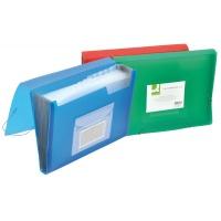 Teczka harm. z gumką Q-CONNECT, PP, A4, 12-przegr., transparentna czerwona, Teczki przestrzenne, Archiwizacja dokumentów