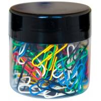 Spinacze okrągłe Q-CONNECT, 26mm, 150szt., w szklanym słoiku, mix kolorów, Spinacze, Drobne akcesoria biurowe