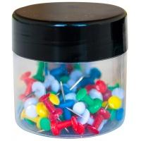 Pinezki beczułki Q-CONNECT, w plastikowym słoiku, 60szt., mix kolorów, Pinezki, Drobne akcesoria biurowe