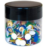 Pinezki klasyczne Q-CONNECT, w plastikowym słoiku, 300szt., mix kolorów, Pinezki, Drobne akcesoria biurowe