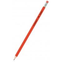 Ołówek drewniany z gumką Q-CONNECT HB, lakierowany, czerwony, Ołówki, Artykuły do pisania i korygowania