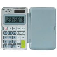 Kalkulator Q-CONNECT 8-cyfrowy, 60x101mm, etui, szary, Kalkulatory, Urządzenia i maszyny biurowe