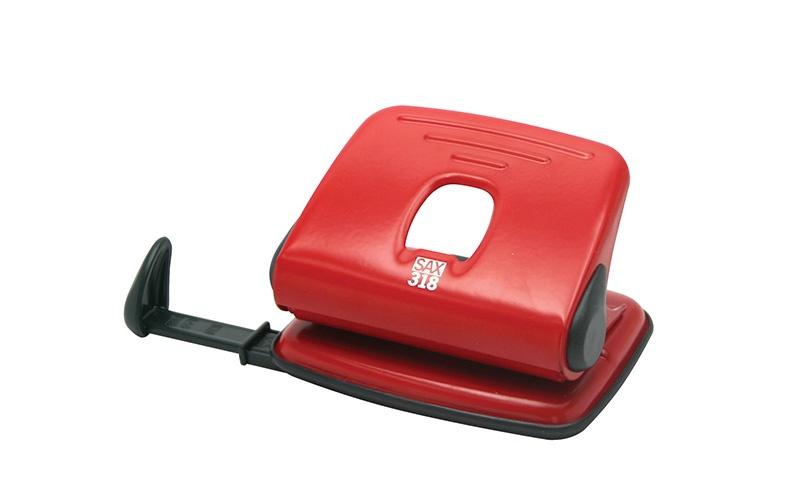 Dziurkacz SAX318, dziurkuje do 15 kartek, czerwony, Dziurkacze, Drobne akcesoria biurowe
