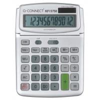 Kalkulator biurkowy Q-CONNECT 12-cyfrowy, 140x180mm, szary, Kalkulatory, Urządzenia i maszyny biurowe