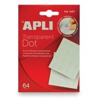 """Kółka samoprzylepne APLI typu """"dot"""", usuwalne, 64szt., transparentne, Kleje, Drobne akcesoria biurowe"""