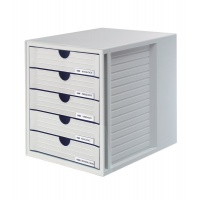 Zestaw 5 szufladek HAN System-Box, polistyren, A4, szary, Szufladki - zestawy, Drobne akcesoria biurowe