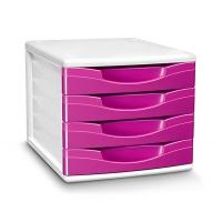 Zestaw 4 szufladek CEP Gloss, polistyren, różowy, Szufladki - zestawy, Drobne akcesoria biurowe