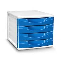 Zestaw 4 szufladek CEP Gloss, polistyren, niebieski, Szufladki - zestawy, Drobne akcesoria biurowe