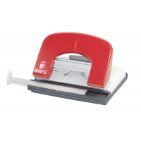 Dziurkacz ICO Boxer P1, dziurkuje do 15 kartek, czerwony, Dziurkacze, Drobne akcesoria biurowe