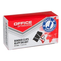 Klipy do dokumentów OFFICE PRODUCTS, 25mm, 12szt., czarne, Klipy, Drobne akcesoria biurowe