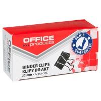 Klipy do dokumentów OFFICE PRODUCTS, 32mm, 12szt., czarne, Klipy, Drobne akcesoria biurowe