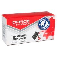 Klipy do dokumentów OFFICE PRODUCTS, 41mm, 12szt., czarne, Klipy, Drobne akcesoria biurowe