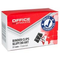 Klipy do dokumentów OFFICE PRODUCTS, 51mm, 12szt., czarne, Klipy, Drobne akcesoria biurowe