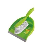 Zestaw szczotka z szufelką SCOTCH BRITE™, zielono-srebrny, Akcesoria do sprzątania, Artykuły higieniczne i dozowniki
