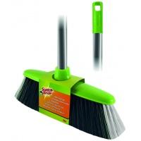 Szczotka SCOTCH BRITE™, z trzonkiem, zielono-srebrna, Akcesoria do sprzątania, Artykuły higieniczne i dozowniki