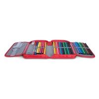 Piórnik szkolny GIMBOO by Verte z wyposażeniem, 1 komora, 2 przekładki, mix kolorów, Piórniki, Artykuły szkolne