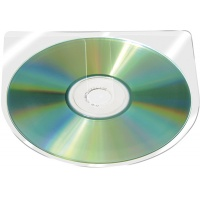 Kieszeń samoprzylepna CD/DVD Q-CONNECT, półokrągła, 126x126mm, 10szt., transparentna, Kieszonki samoprzylepne, Drobne akcesoria biurowe